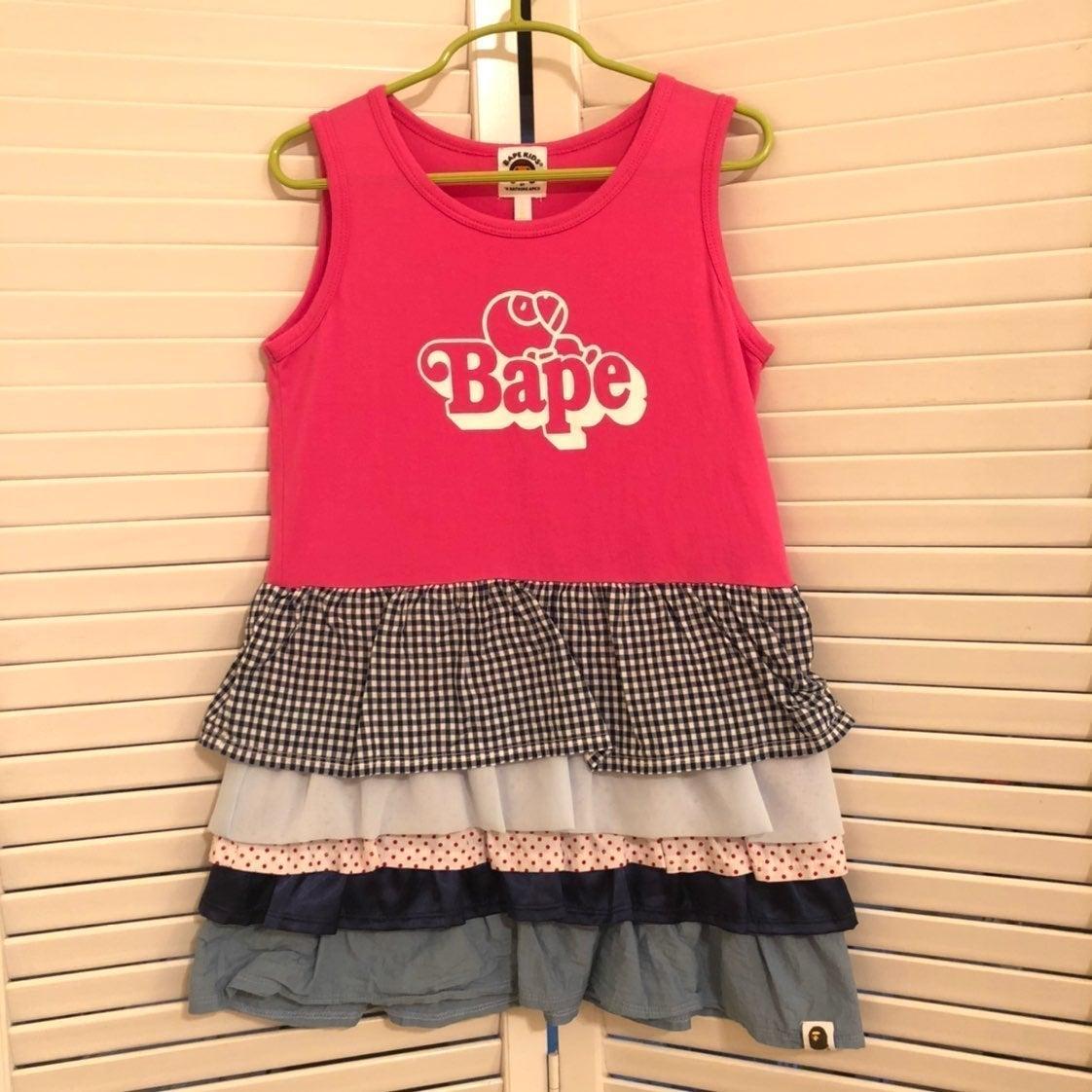 BAPE kids girls ruffle tank dress