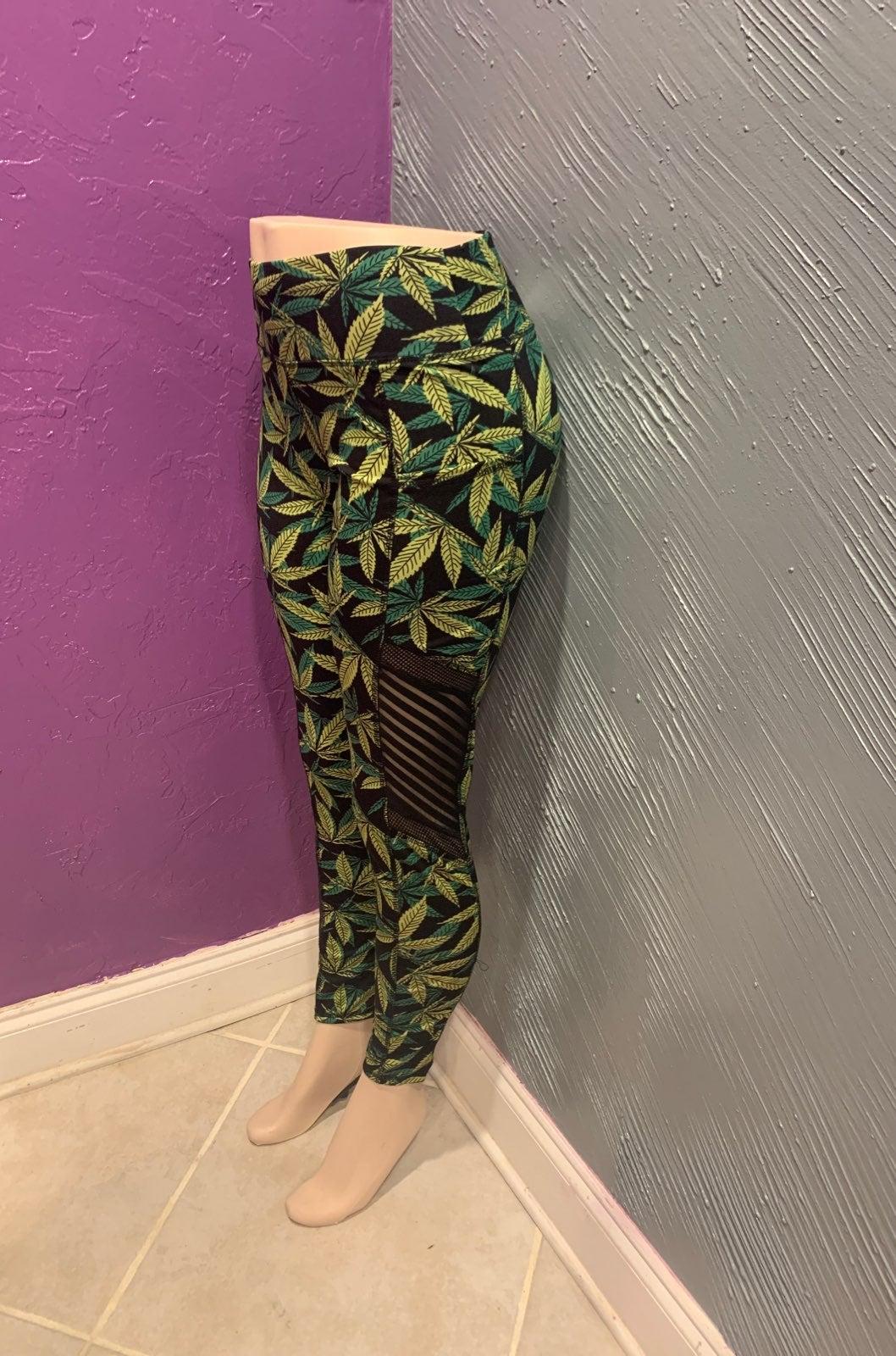 MJ Leaf fashion mesh leggings S/M