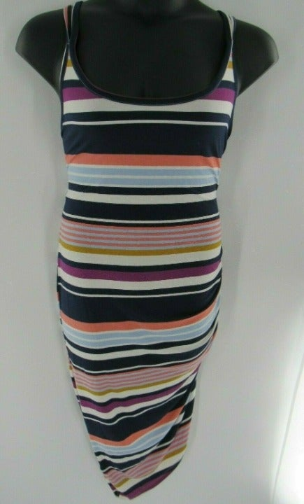 Plus Size Striped Asymmetrical Dress 2X
