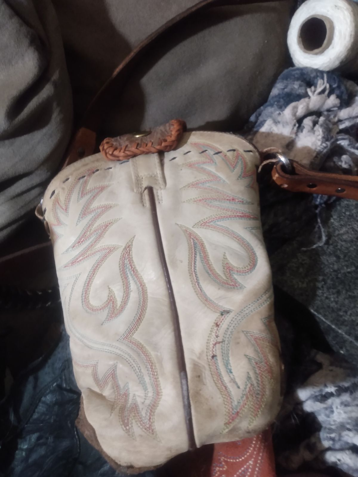 Upcycled cowboy boots purse
