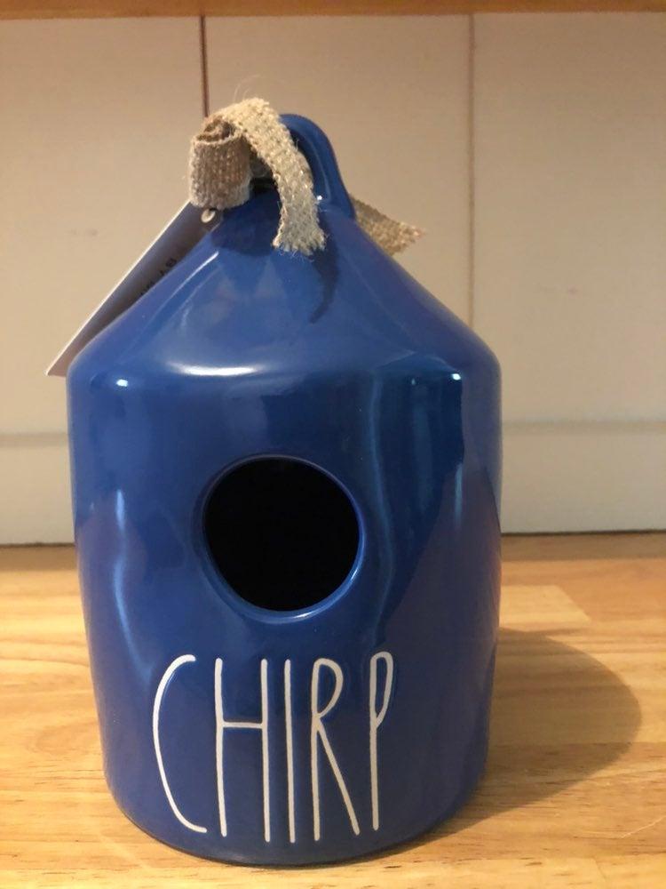 Rae Dunn blue chirp birdhouse