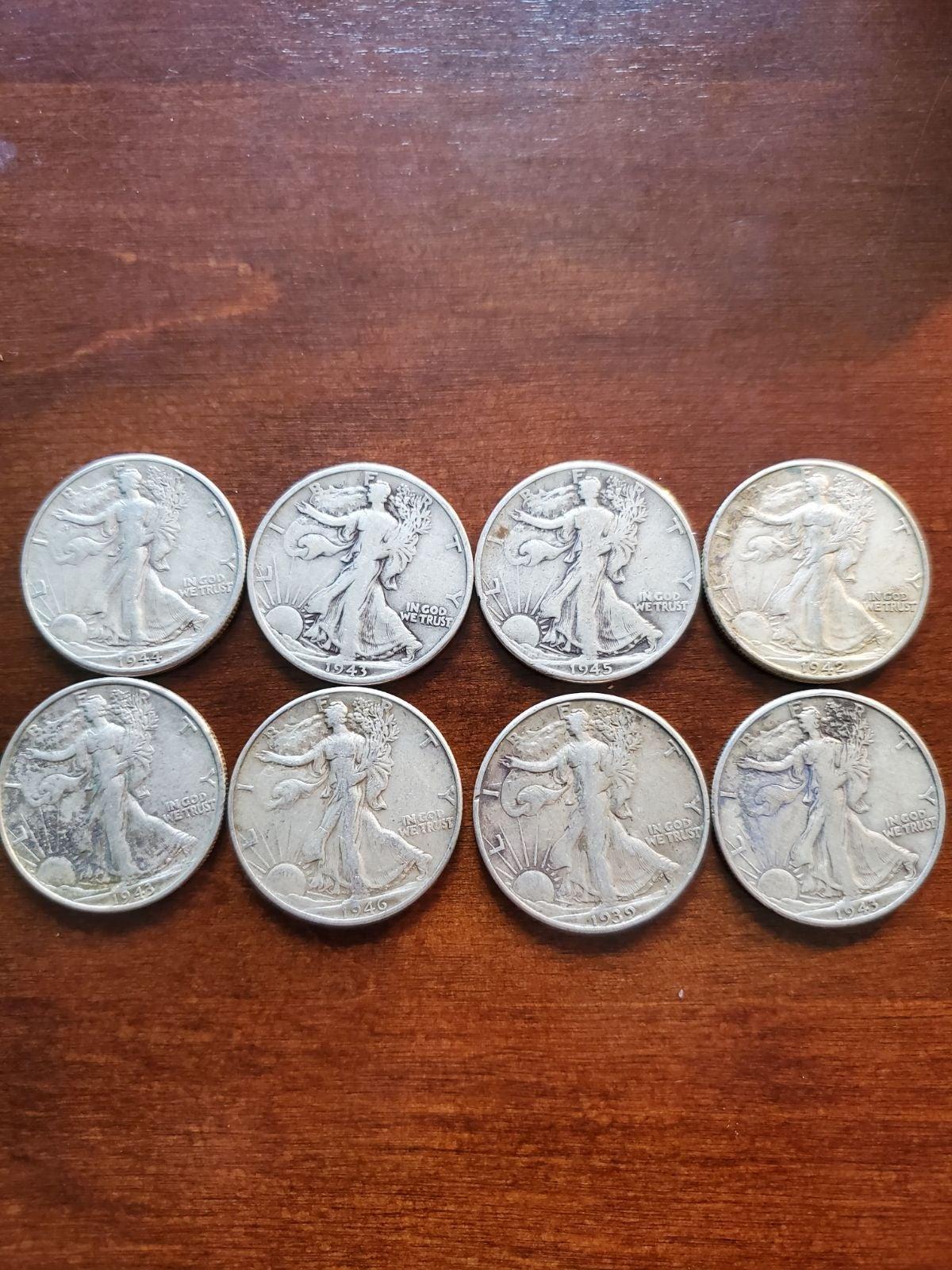 (8) Walking Liberty Halves 90% Silver