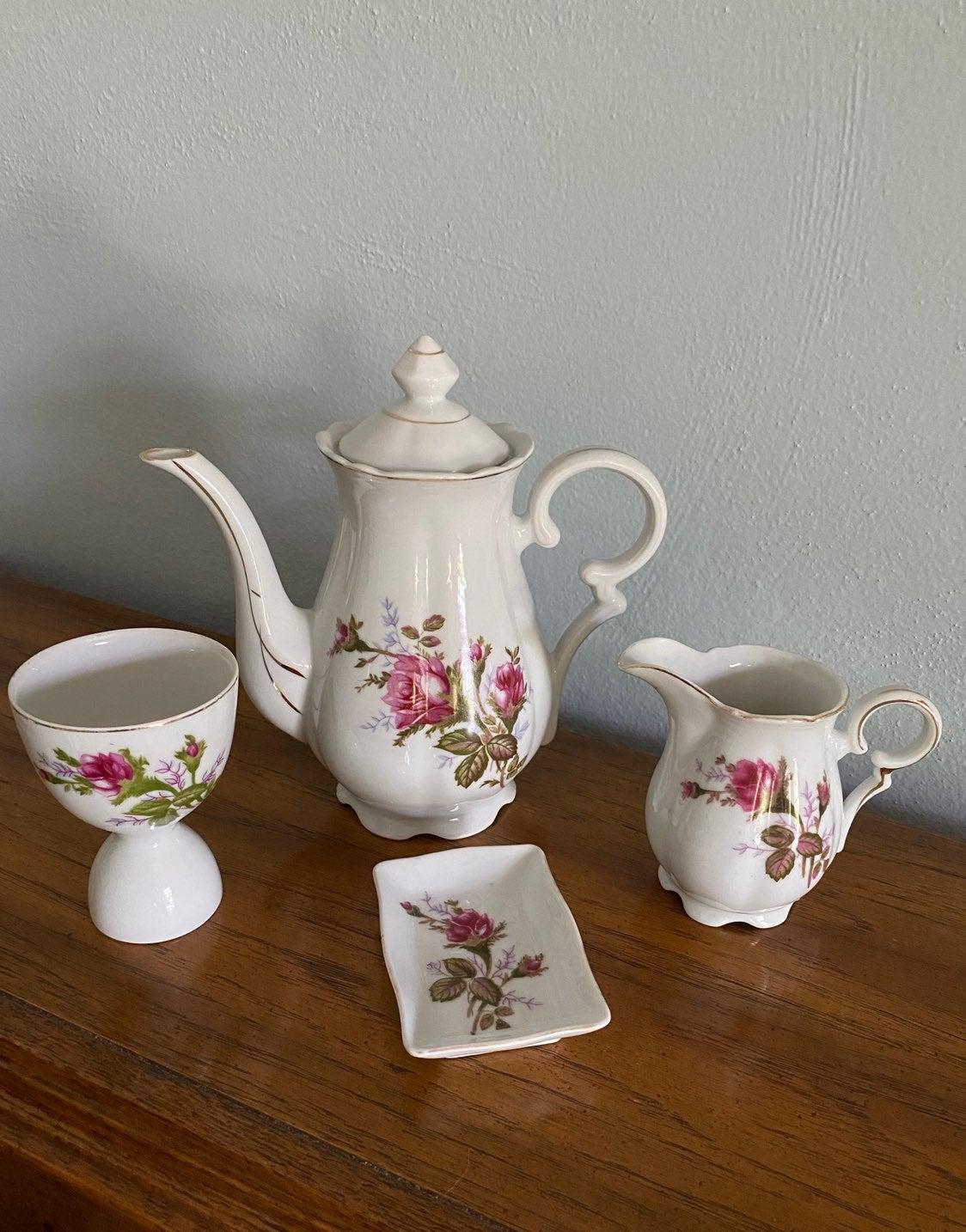 4 Pcs. Of Vintage Moss Rose Porcelain