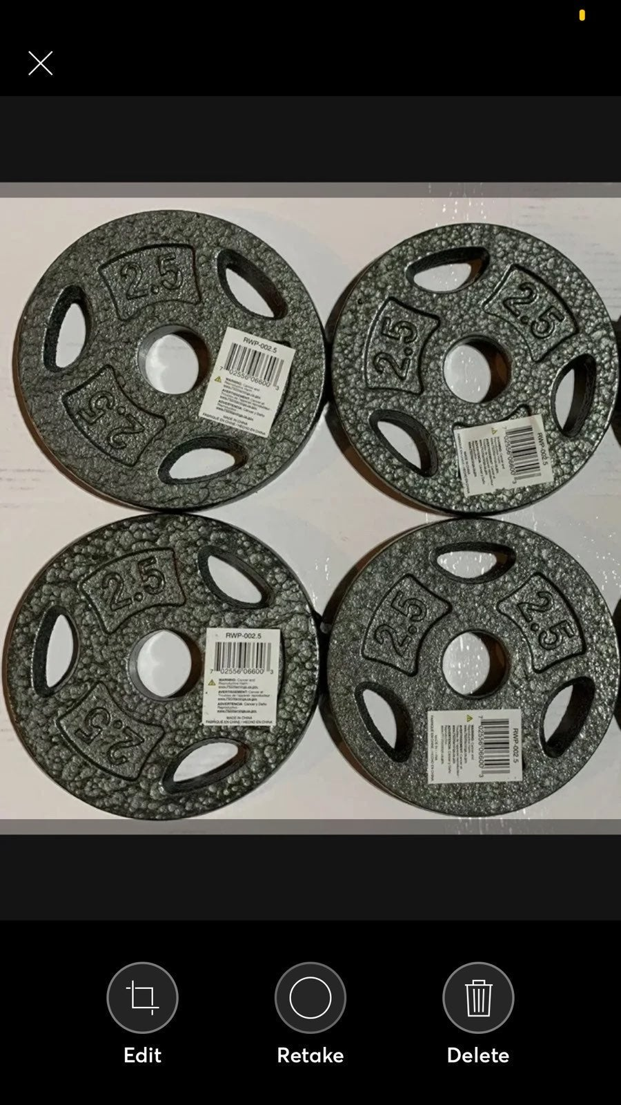 2.5lb 1 inch weight plates (4 NEW