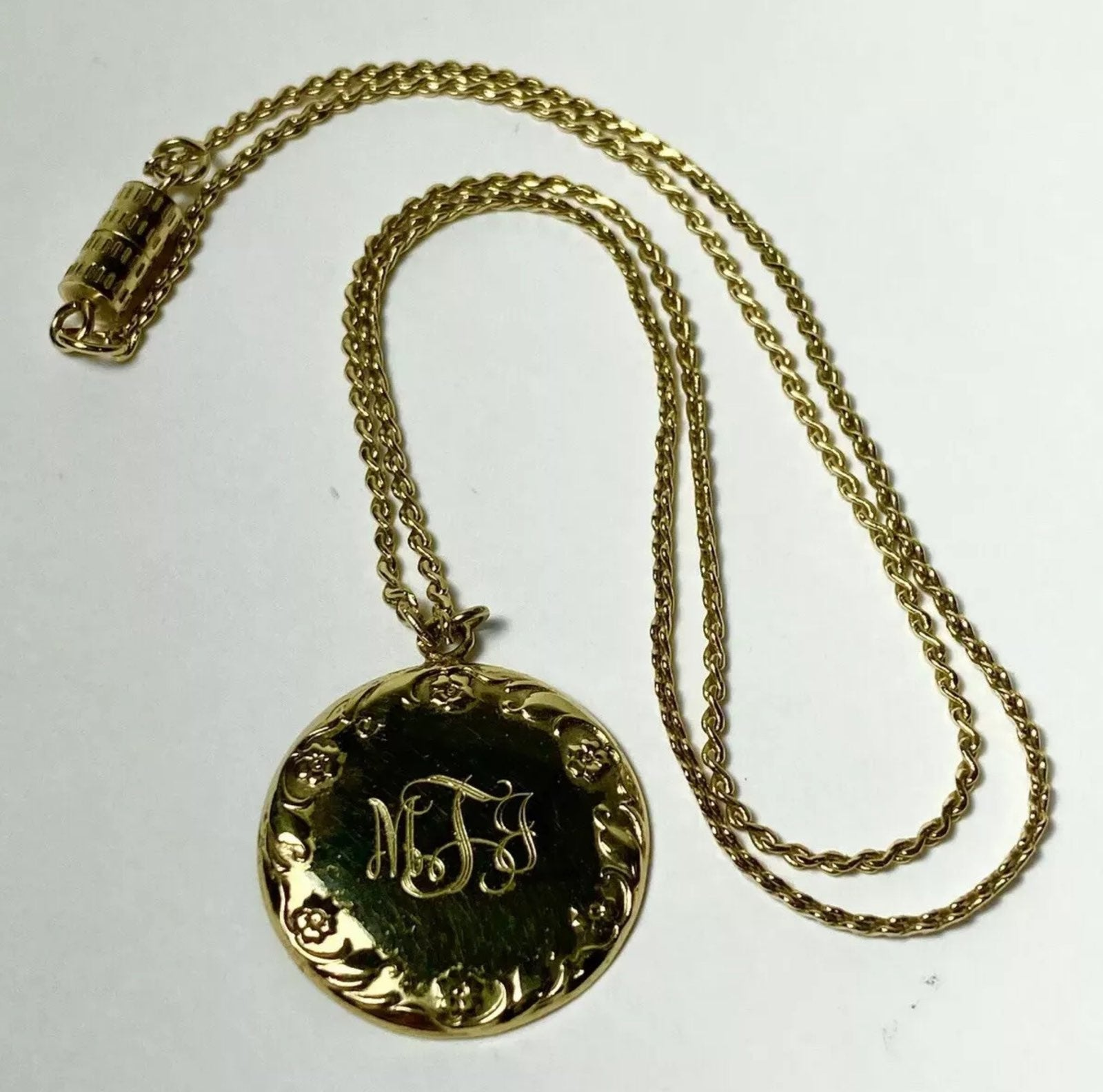 Engraved Gold Monogram Necklace