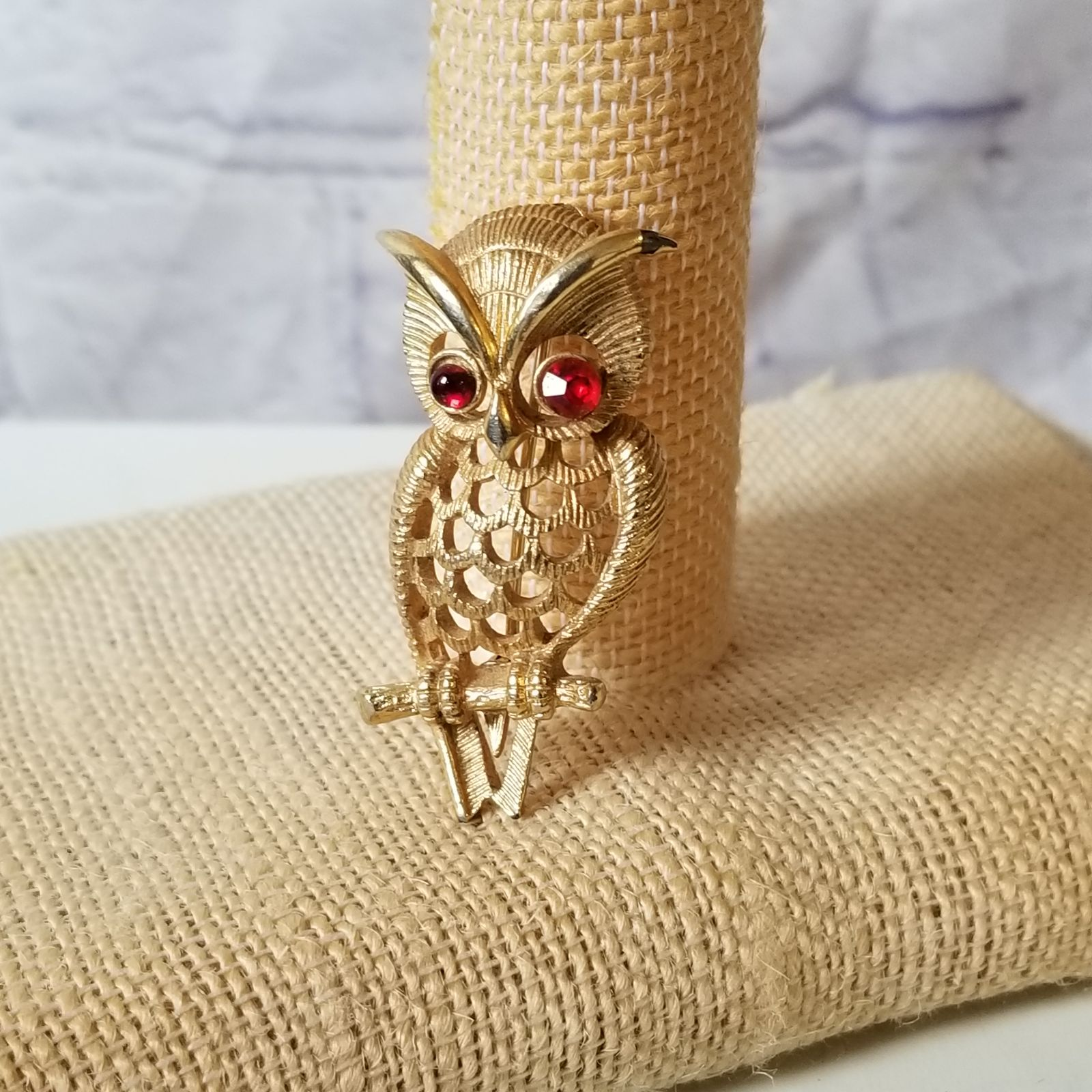 Vintage Ruby Gem Eyes Owl Pin/ Brooch