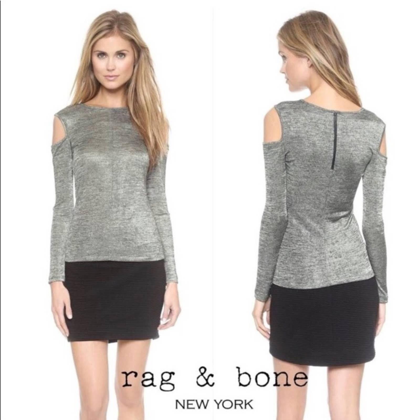 Rag & Bone Cold Shoulder Metallic Top L