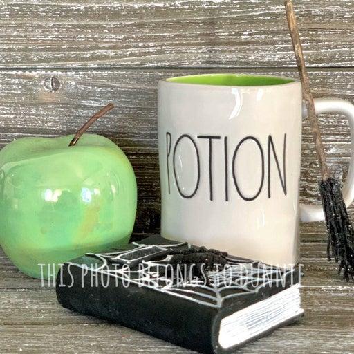 1pc Green Luster Ceramic Poison Apple for Tier Tray Decor Halloween & Rae Dunn