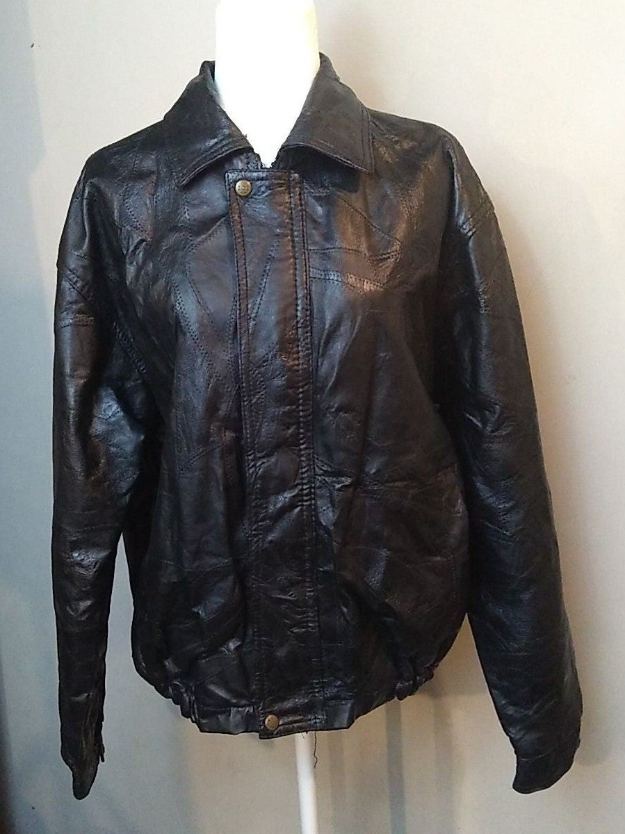 Haband Black Leather Jacket Unisex Large