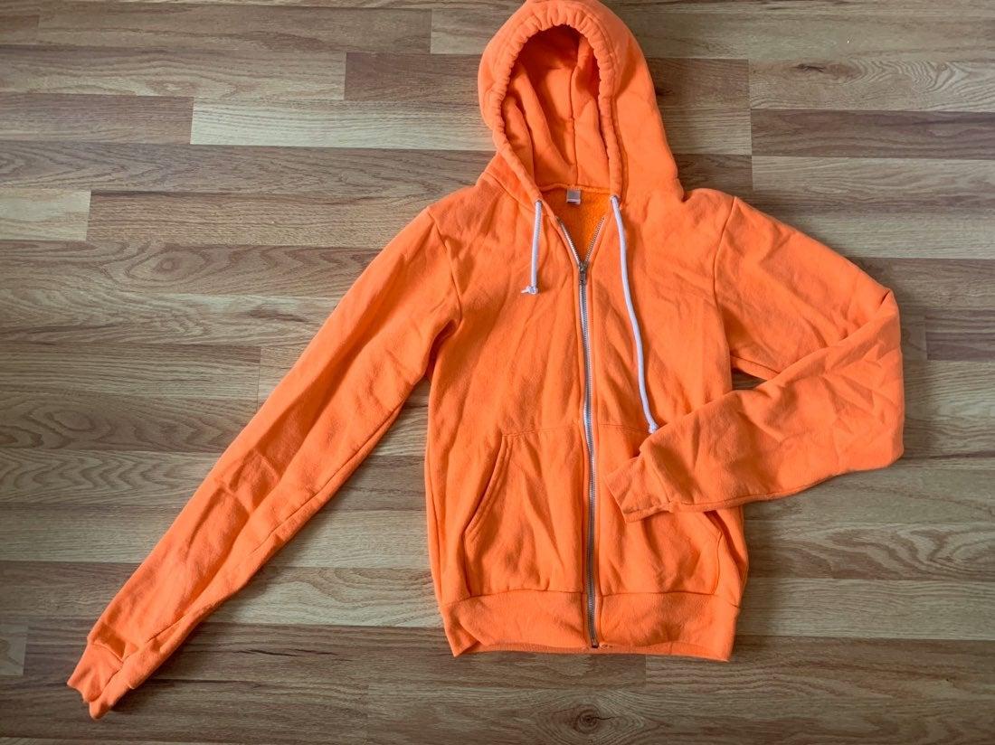 american apparel orange hoodie small
