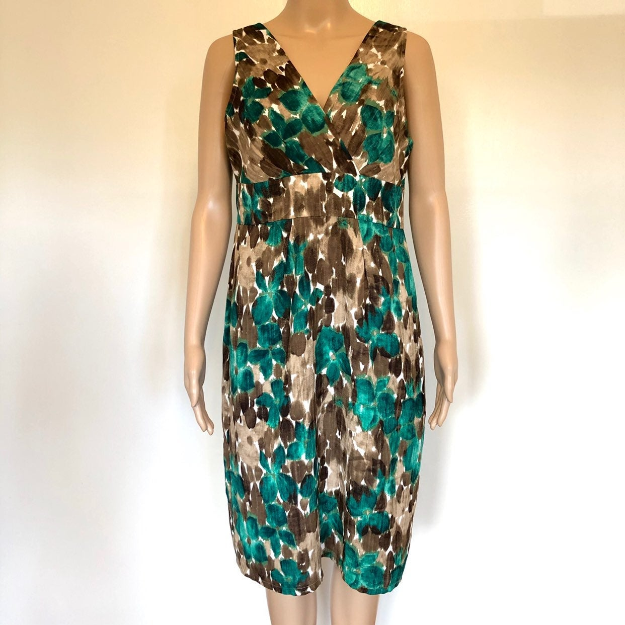 Axcess green&brown sleeveless midi dress