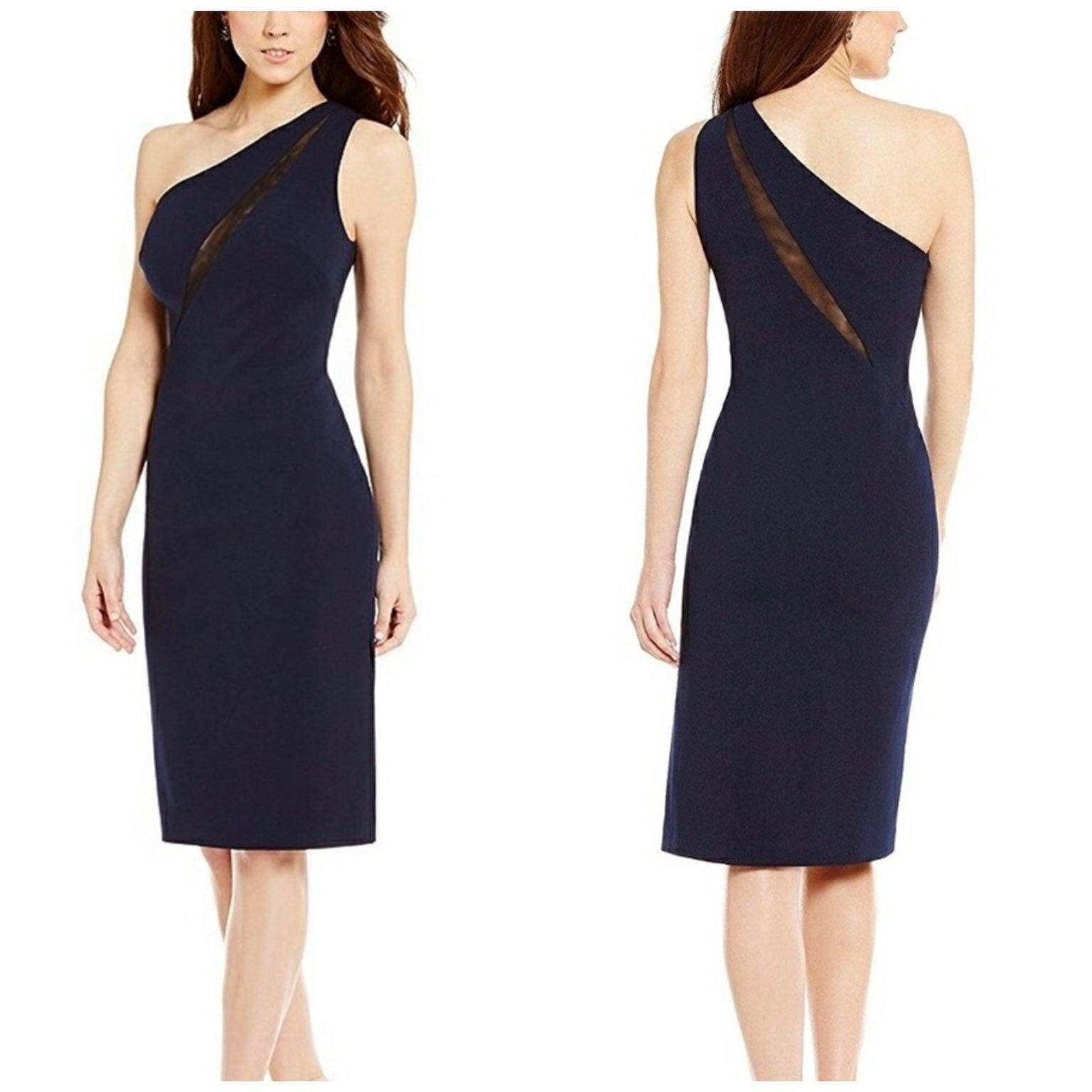 Antonio Melani Navy One Shoulder Dress