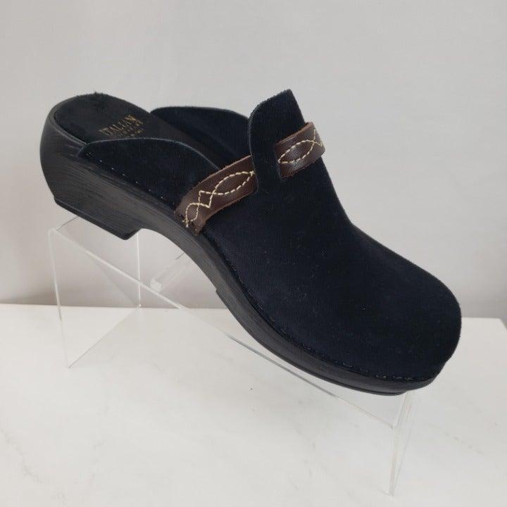 Italian Shoemakers Clog Mules Sz 6M Blk
