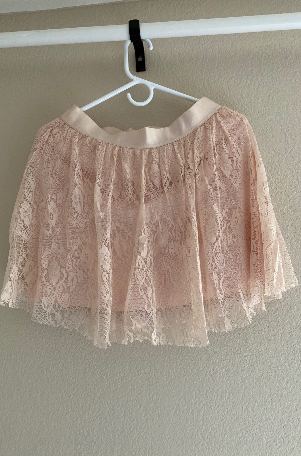 Frenchi peach lace skirt - L