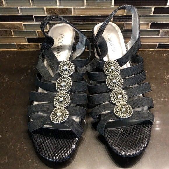 London Fog Nanci beaded elastic sandals
