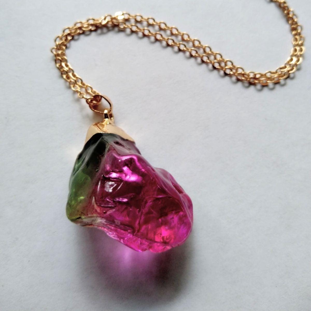 Watermelon Quartz Crystal Stone Necklace