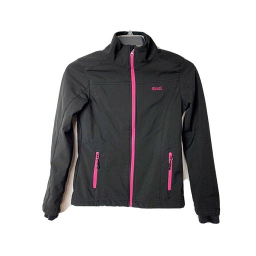 Cruel Women Size XS Full Zip Coat Poly/Spandex Black/Pink Med Weight Stretch GUC
