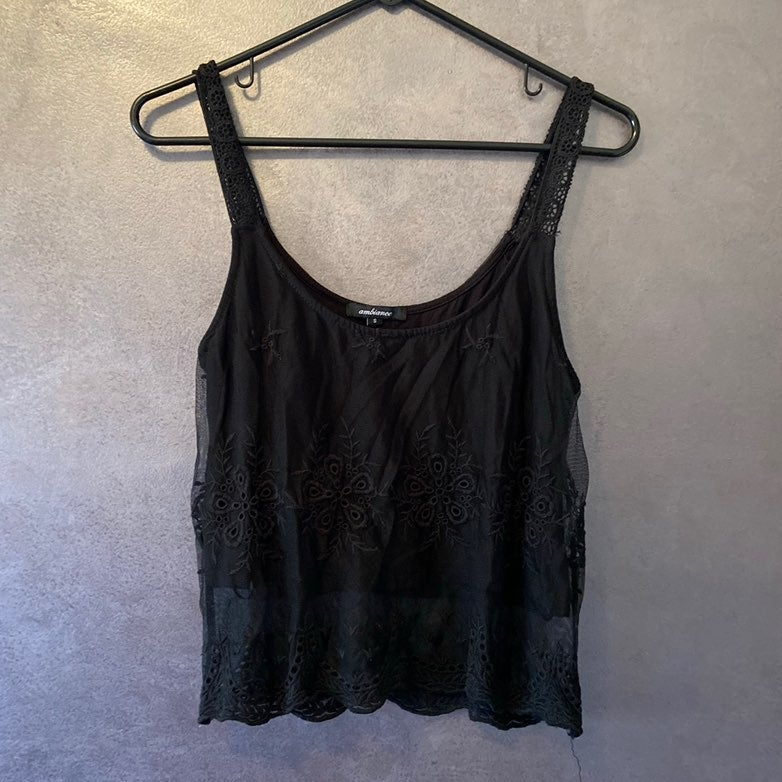 Ambiance Black Cropper Tank Top Small