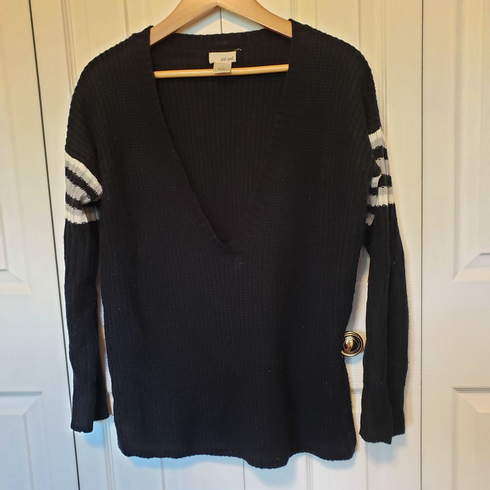 Wet Seal V Neck Black Sweater Size S