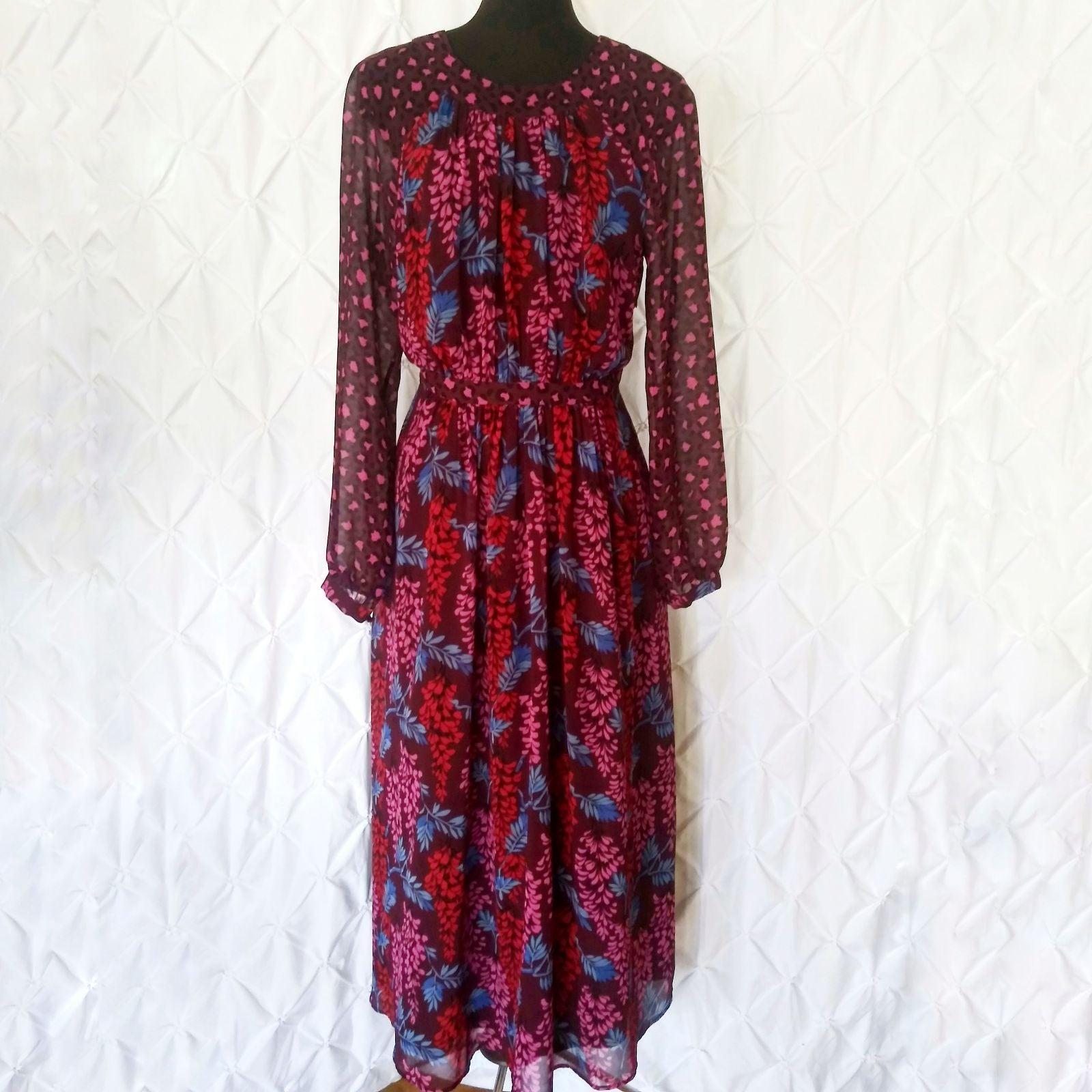 Boden Erica maroon floral midi dress