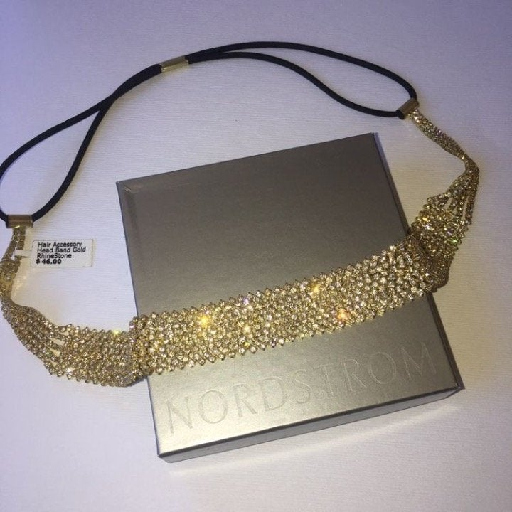Nordstrom gold crystal head band tiara