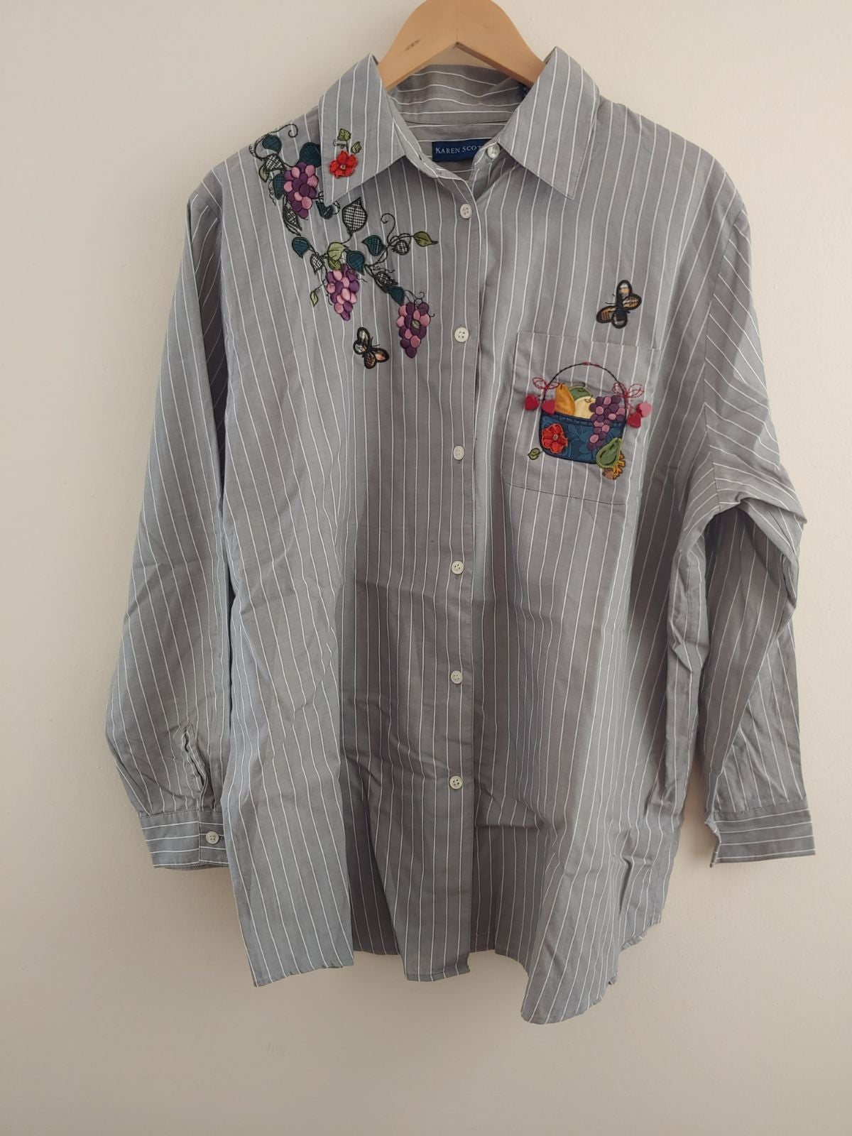 Karen Scott Gray Striped Embroidered Top