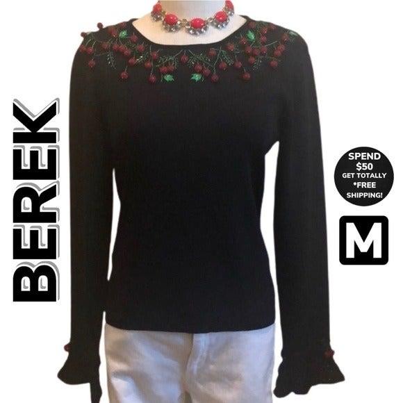 BEREK Knit Beaded Cherry Sweater (M)