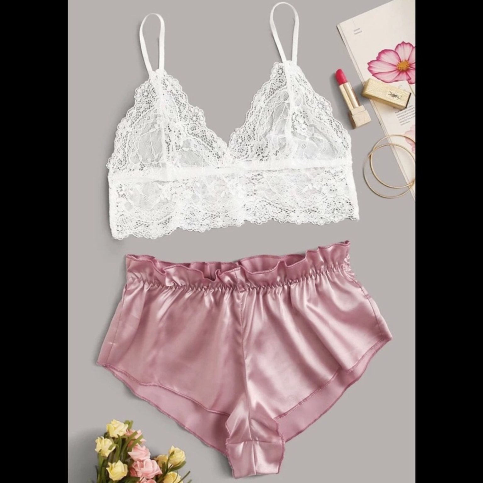 Pink & White, Lace & Satin, Lingerie Set