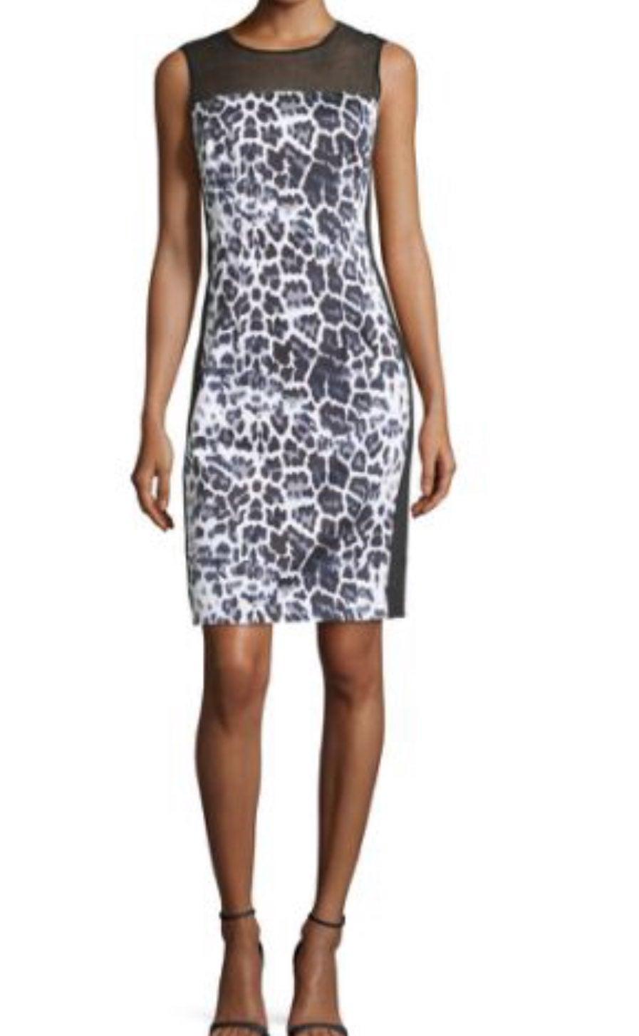 Tahari Bodycon Leopard Mesh Dress-4
