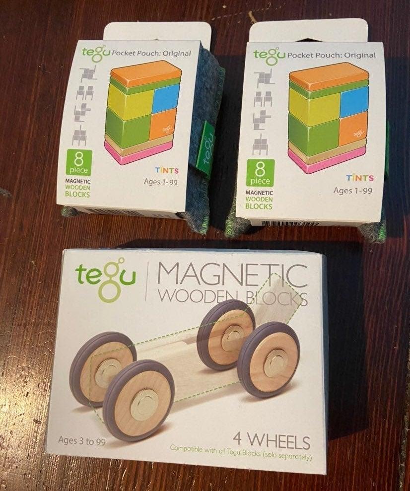 1 Tegu Tints blocks & 4 wheels new