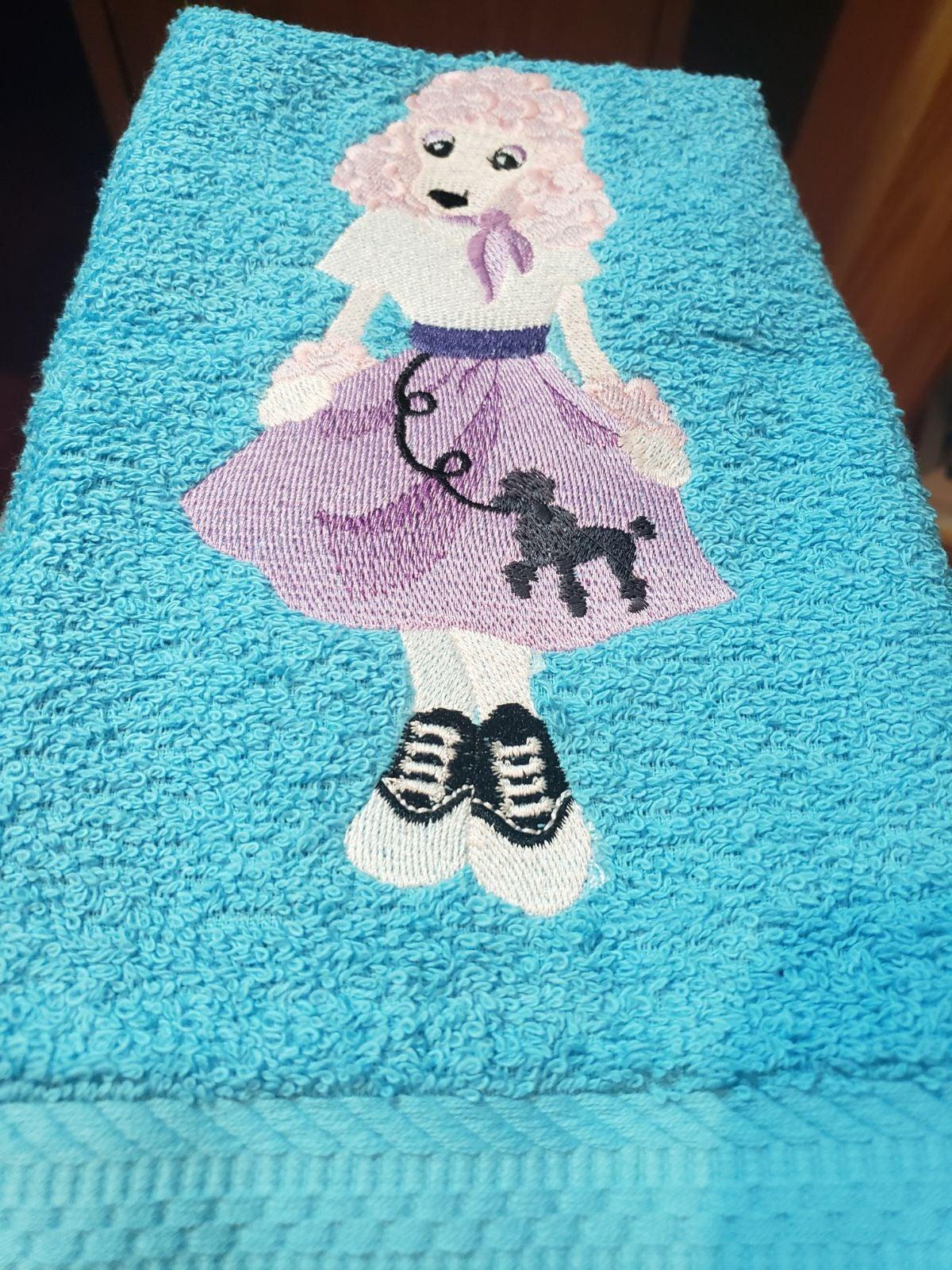 Custom  pink poodle dog hand towel set