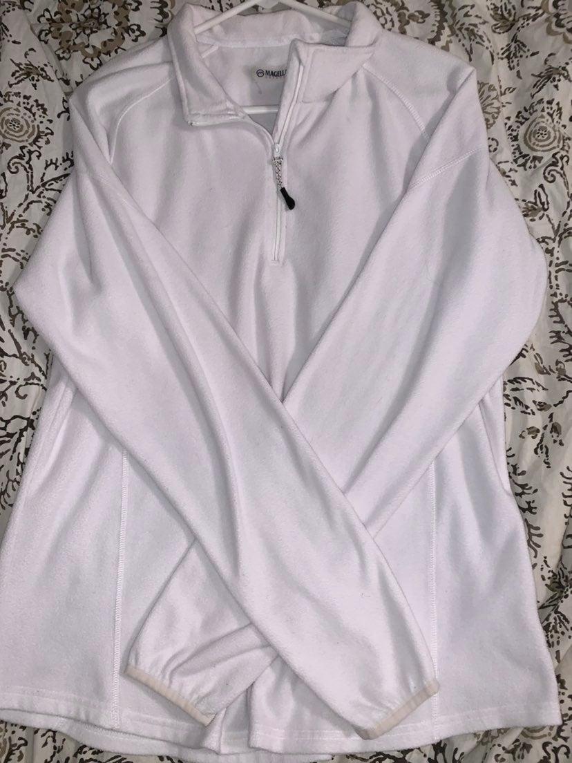magellan white half zip pullover