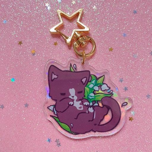 Holorgraphic Double Sided Acrylic Tuxie Cat Keychain
