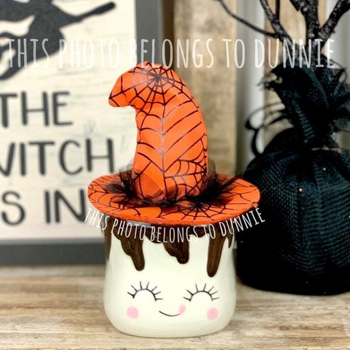 1 Orange Witch Hat for Marshmallow Mug for Tiered Tray decor & Rae Dunn