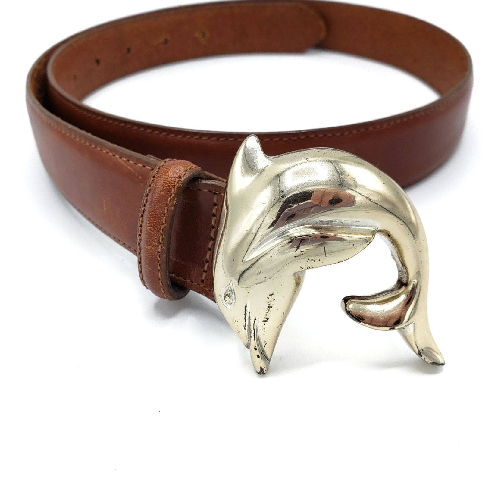 Talbots Dolphin Brown Leather Belt