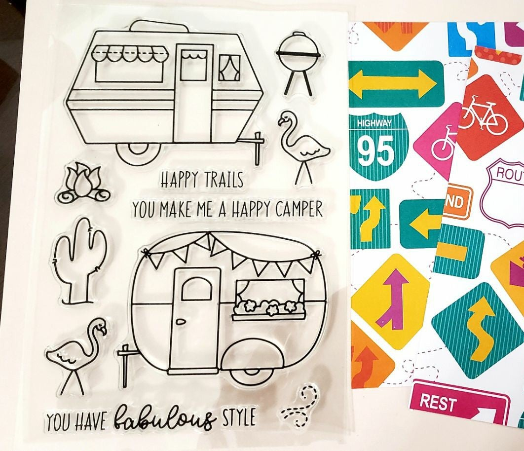 Happy camper stampset, paper, free shipp