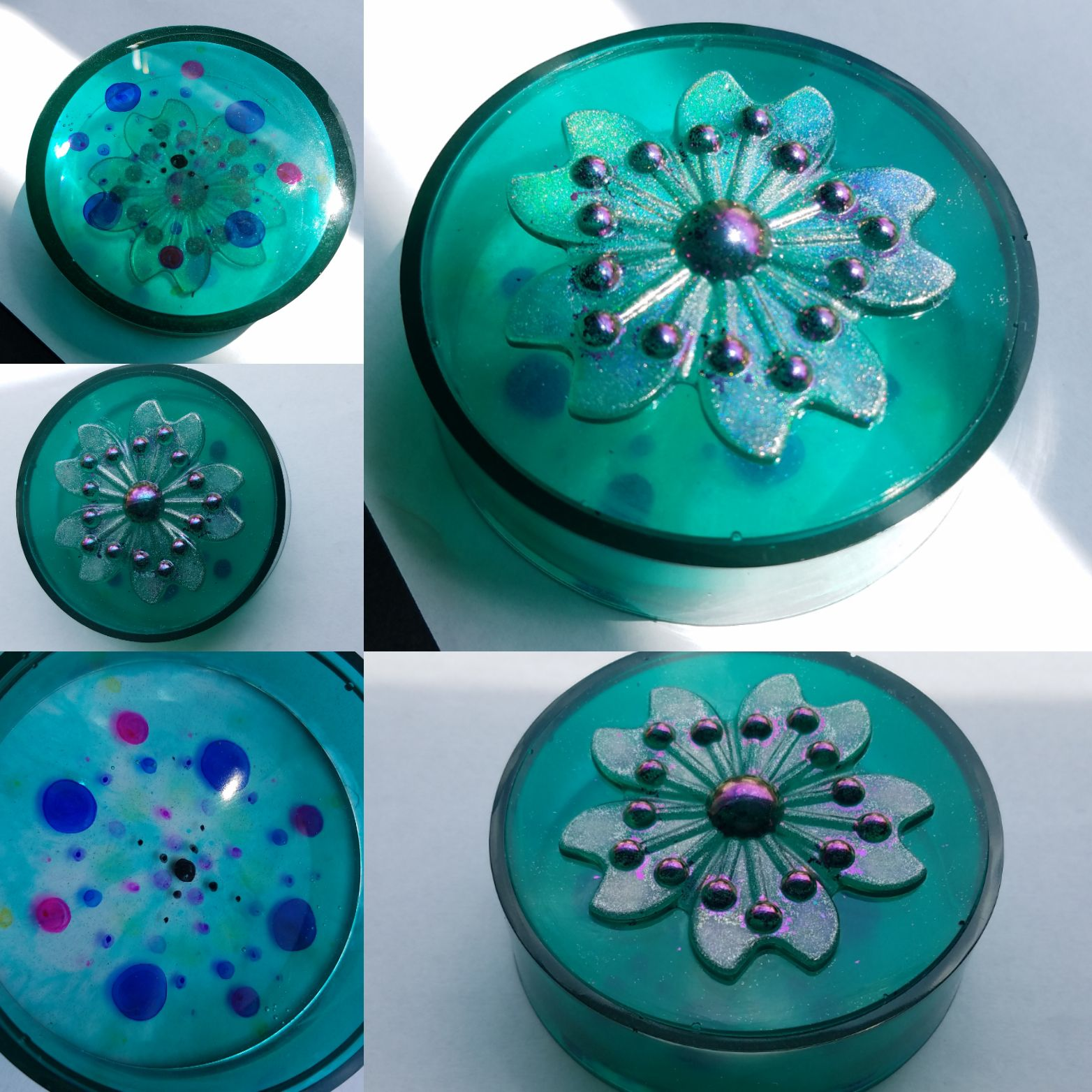 Teal resin container with flower