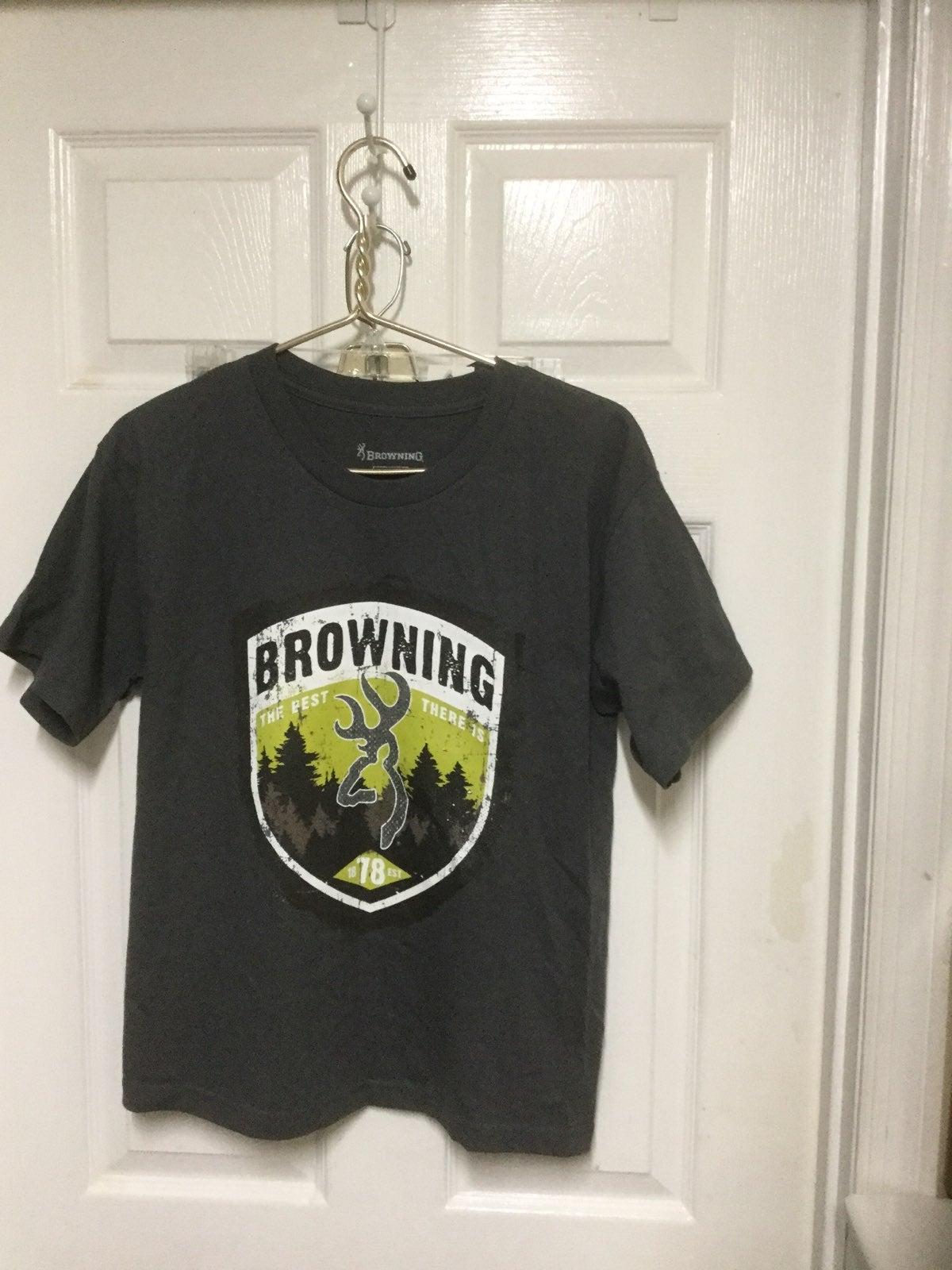 Browning Gray T Shirt Boy Sz L Youth NWW