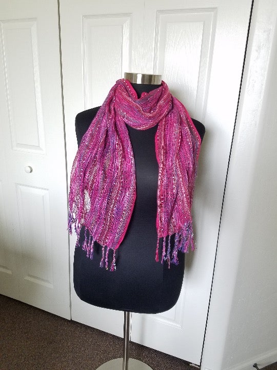 Maurice's Pink and purple Fringe Scarf