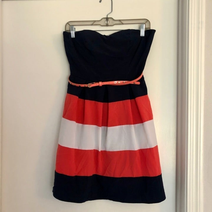 Navy, White, Coral Short Strapless Dress