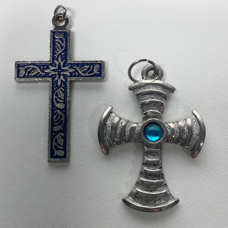 Vintage Silver Tone Cross Pendants