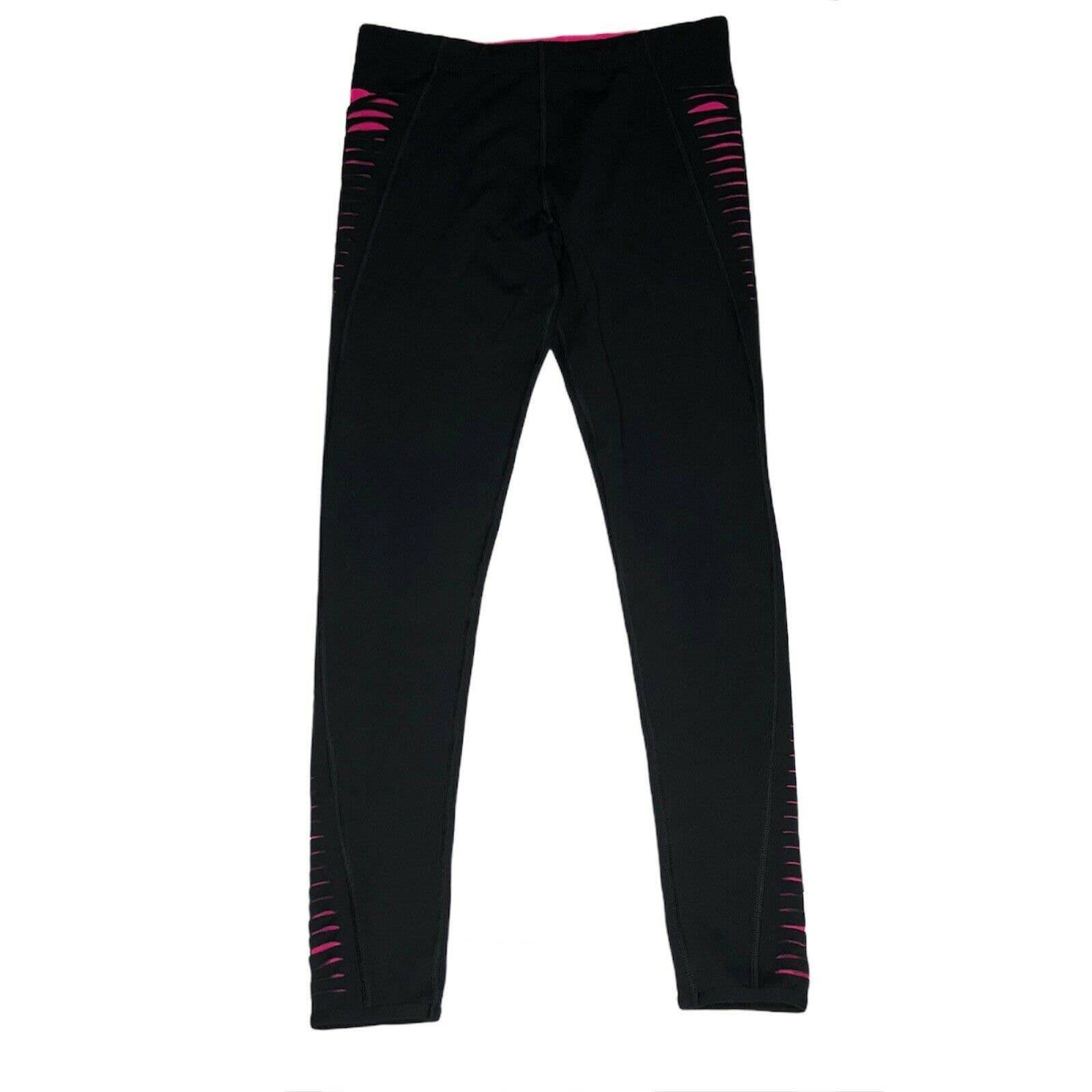 Lorna Jane Leggings Black Pink Mesh Slit