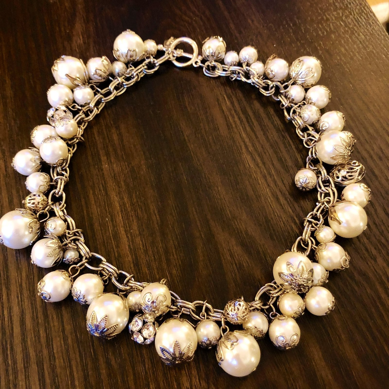 Pearl Charm Statement Necklace