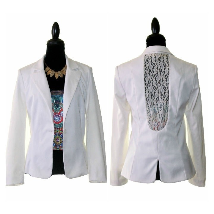 NWT View Ivory Back Lace Blazer
