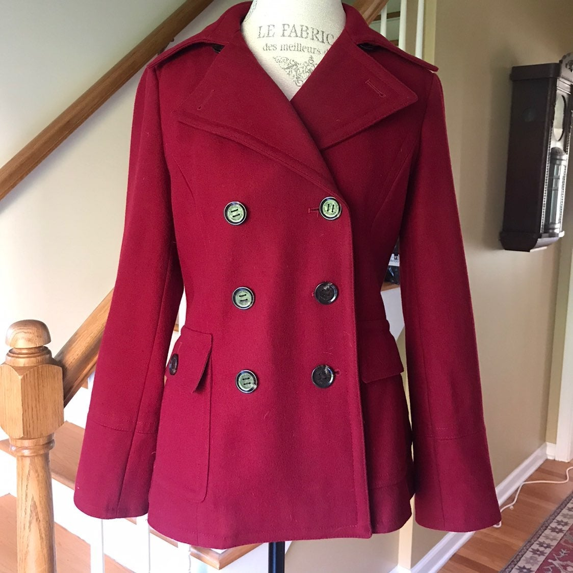 Calvin Klein Red Wool Blend Pea Coat 8