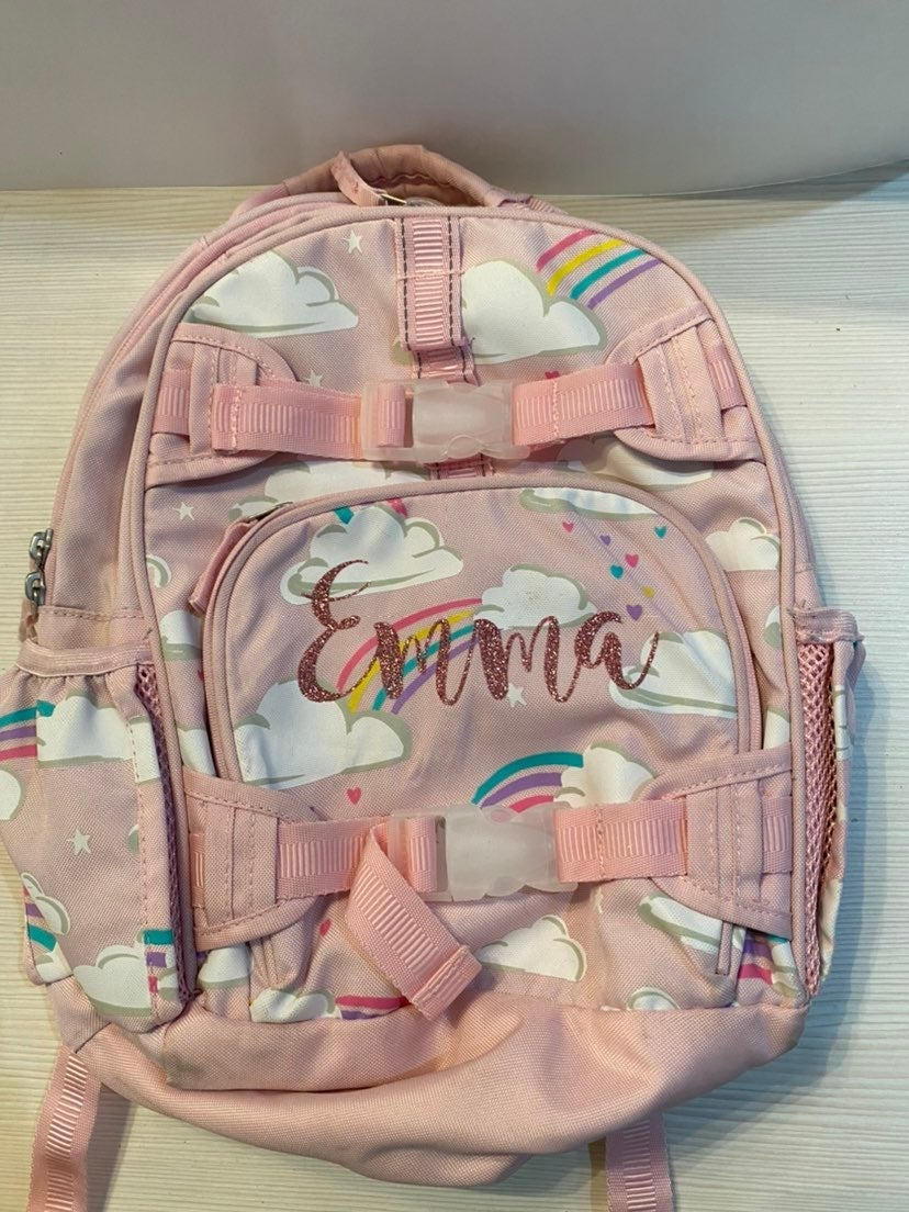Pottery Barn backpack with name Emma