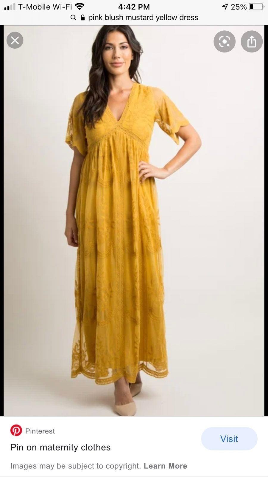 PinkBlush Yellow Mustard Lace Maxi Dress
