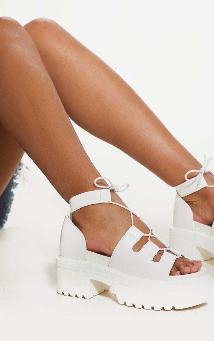 PLT White Chunky Lace Up Sandal