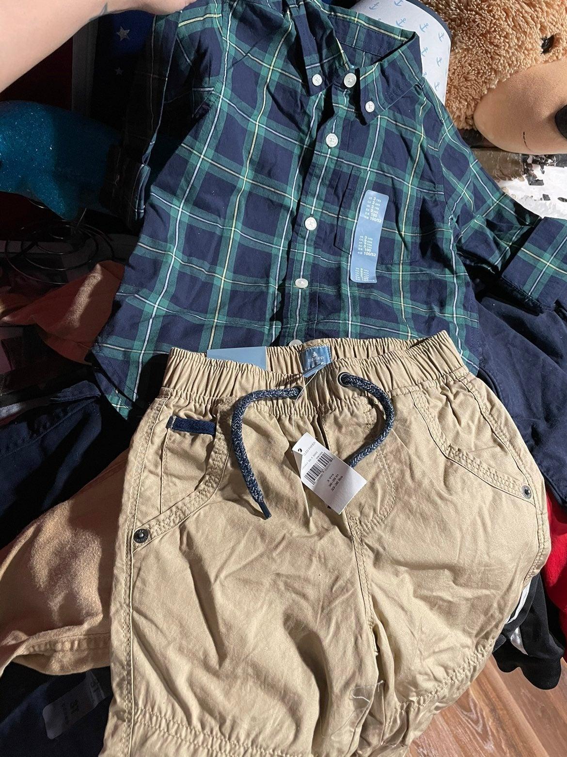 3 New button down shirts w/ pants 3T
