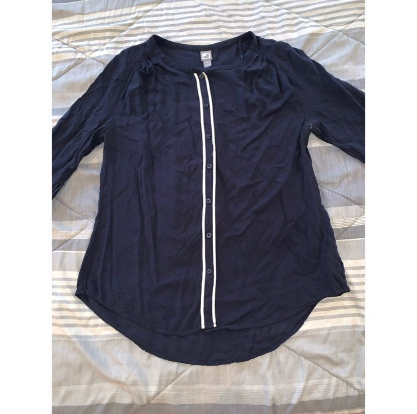 Navy Blue JCP Button-Up Blouse